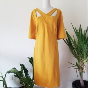 Lane Bryant Mustard Crossover Front Dress 22